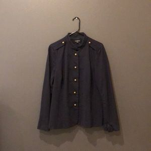 Navy blue, military button style suit jacket